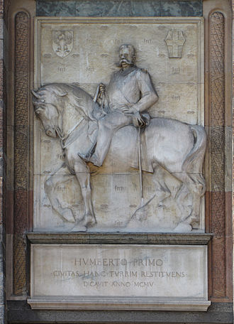 Luigi Secchi - Monument to King Umberto I, (1905) above the entrance portal to Filarete's Tower in the Castello Sforzesco of Milan.