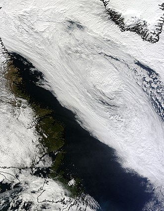 Hurricane Igor - Hurricane Igor's extratropical remnant on September 22, about a day before being absorbed.