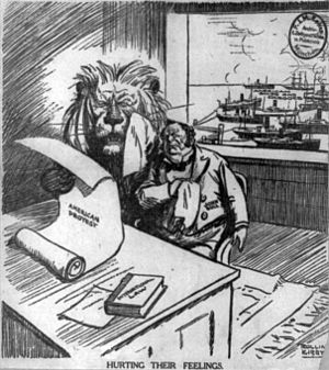 "American entry into World War I - ""Hurting Their Feelings"": Political cartoon from November 9, 1915, shows the British lion and John Bull reading a newspaper about American war protests and crying, while American ships and cargo appear in the harbor behind them"
