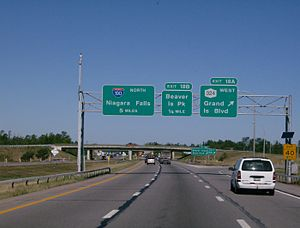 Interstate 190 (New York) - Helvetica signage for exit 18A on I-190