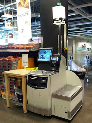 Self-checkout - NCR Corporation model of self-service checkout at an IKEA store