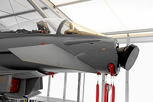 Active electronically scanned array - The Eurofighter Typhoon combat aircraft with its nose fairing removed, revealing its Euroradar CAPTOR AESA radar antenna