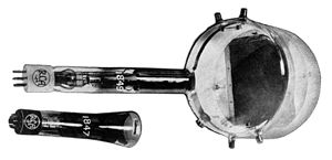 "Iconoscope - Two iconoscope tubes.  The type 1849 (top) was the common tube used in studio television cameras.  The camera's lens focused the image through the tube's transparent ""window"" (right) and onto the dark rectangular ""target"" surface visible inside.  The type 1847 (bottom) was a smaller version."