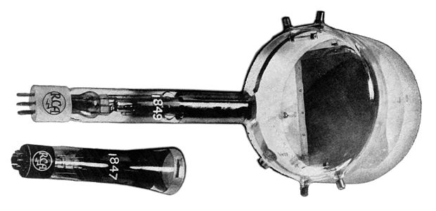 "Two iconoscope tubes. The type 1849 (top) was the common tube used in studio television cameras. The camera's lens focused the image through the tube's transparent ""window"" (right) and onto the dark rectangular ""target"" surface visible inside. The type 1847 (bottom) was a smaller version. Iconoscopes.jpg"