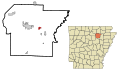 Independence County Arkansas Incorporated and Unincorporated areas Sulphur Rock Highlighted.svg