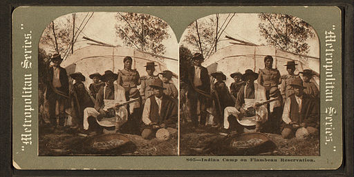 Indian camp on Flambeau reservation, from Robert N. Dennis collection of stereoscopic views