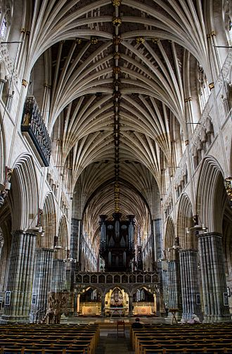 Exeter Cathedral - Inside the cathedral, showing the vaulted ceiling – the longest uninterrupted medieval vaulted ceiling in the world