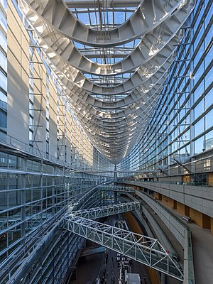Interior of the Tokyo International Forum Glass Building, Japan