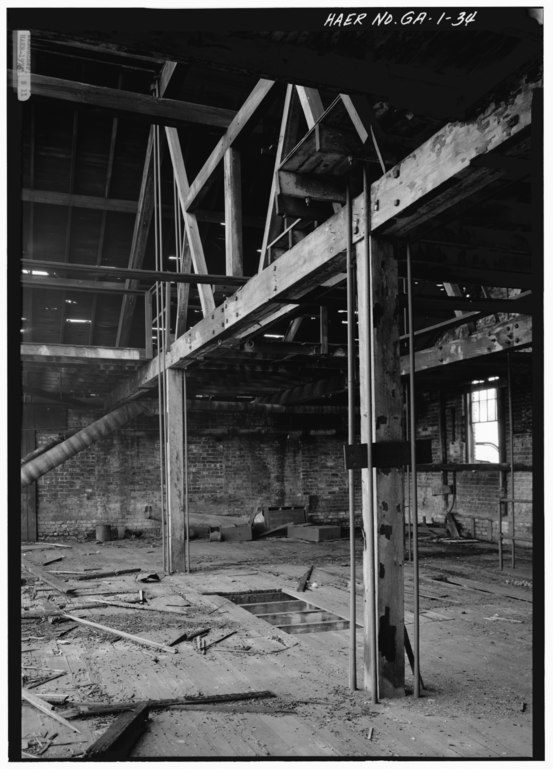 file interior view of heavy timber structural framing at 2nd floor level of machine shop. Black Bedroom Furniture Sets. Home Design Ideas