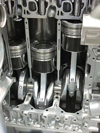 Single- and double-acting cylinders - Single-acting pistons of a typical modern diesel car engine
