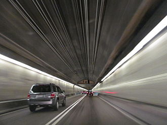 Squirrel Hill (Pittsburgh) - Inside the Squirrel Hill Tunnel, which runs underneath the southern half of Squirrel Hill