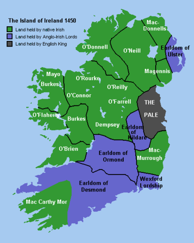 Ireland in 1450 showing lands held by native Irish (green), the Anglo-Irish (blue) and the English king (dark grey). Ireland 1450.png