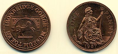 A Penny token as used in Blists Hill Ironbridge Penny.jpg