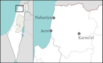1979 Nahariya attack - Image: Israel outline northwest