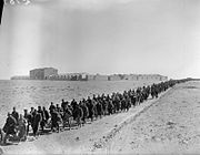 Italian prisoners captured at Sidi Barrani are marched into captivity