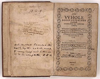 John Carter Brown Library - The JCB's copy of the Bay Psalm Book, owned by Richard Mather, and acquired by John Carter Brown in 1881.