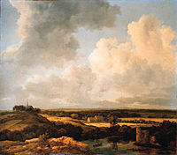 Jacob van Ruisdael - An extensive landscape with an artist sketching by a ruin, a rowboat and cottages with a church beyond.jpg