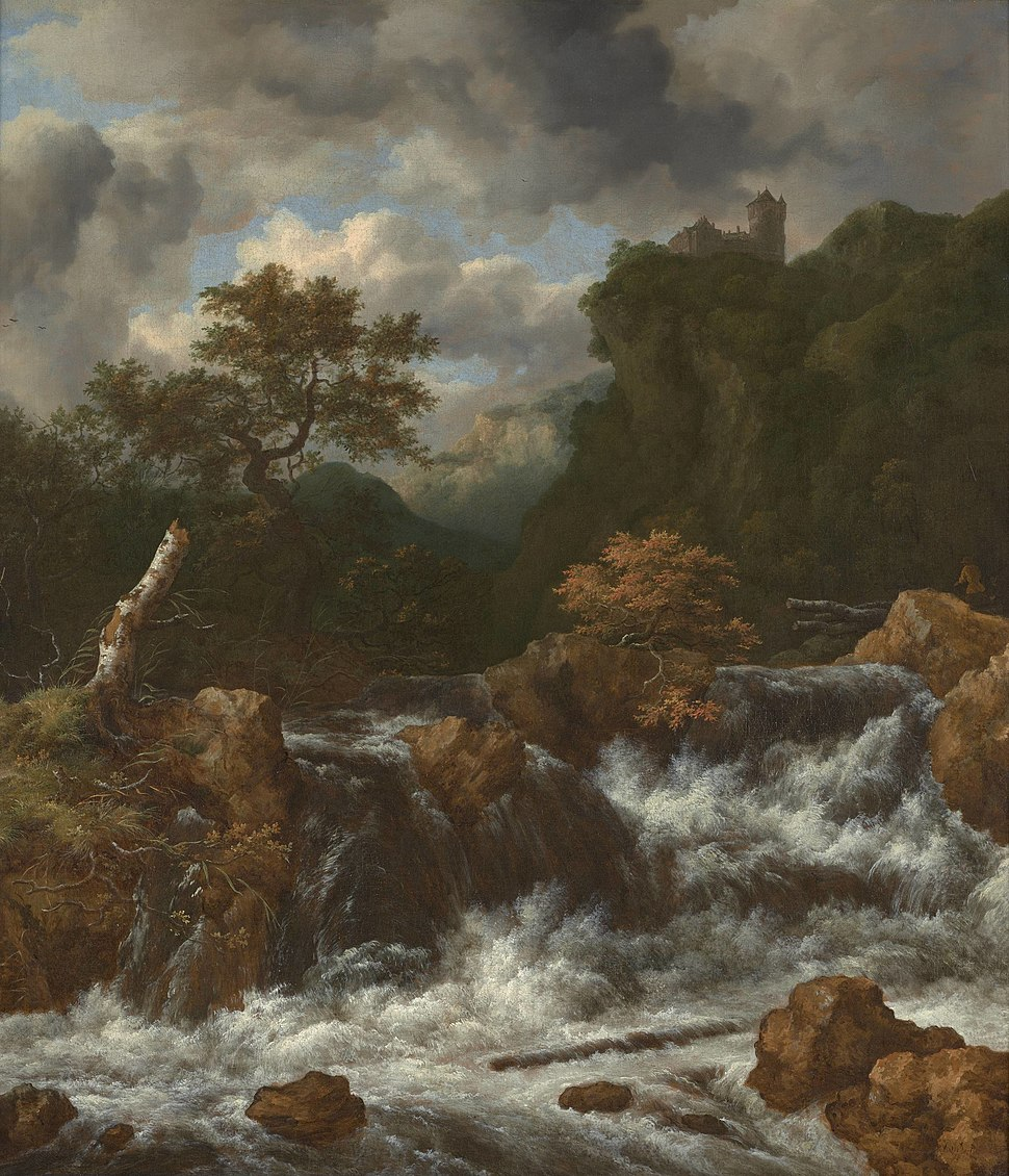Jacob van Ruisdael - Landscape with waterfall and castle on a mountaintop