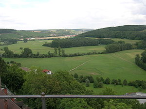 Krautheim - View from Castle Krautheim - Here is the Jagst river as border between Baden and Württemberg.