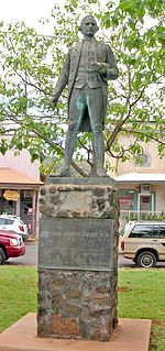 A statue of James Cook stands in Waimea, Kauai commemorating his first contact with the Hawaiian islands at the town's harbor on January 1778