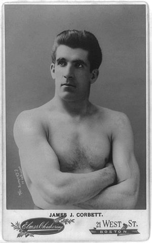 "1892 in sports - James J. Corbett, known as ""Gentleman Jim"""