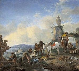 Jan Frans van Bredael - Hunters resting beside a fountain