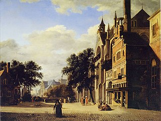 Square with a Cobbler's Shop and a Gothic Church