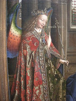 Cope - The Archangel Gabriel wears a rich cope with a huge jewelled morse in Jan van Eyck's ''Annunciation'', 1434-36