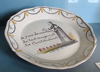 Civil Constitution of the Clergy - A commemorative plate from 1790 shows a curate swearing the Constitution.