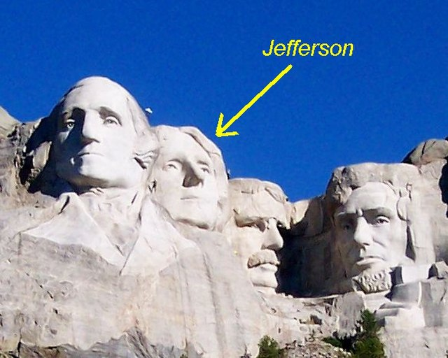 From commons.wikimedia.org: Jefferson on Mt Rushmore {MID-147536}