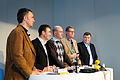 Jens Stoltenberg Anders Fogh Rasmussen Fredrik Reinfeldt Matti Vanhanen och Geir H. Haarde haller presskonferens efter globaliseringsmotet i Riksgransen 2008-04-09 (1).jpg