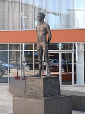 This is a Statue of Jim Driscoll, who is the first ever winner of the Lonsdale belt