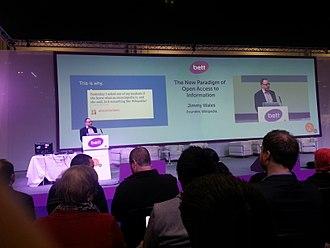 BETT - Jimmy Wales delivering keynote presentation at BETT Show 2015