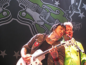 The Knockouts - Johan Frandsen and Brian Setzer on stage at the Helsinki Ice Hall, Finland, July 2011 as part of the European leg of the Brian Sezter Rockabilly Riot  2011