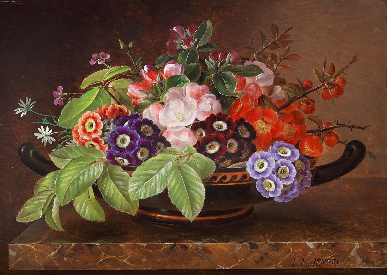 Johan Laurentz Jensen - Blomster i en græsk skål på en marmorkarm.png