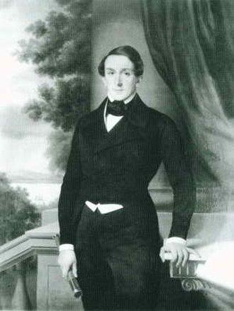 Johann Cesar VI. Godeffroy - Johan Cesar VI. Godeffroy at the family estate on Elbchaussee (ca. 1847), oil on canvas by Robert Schneider