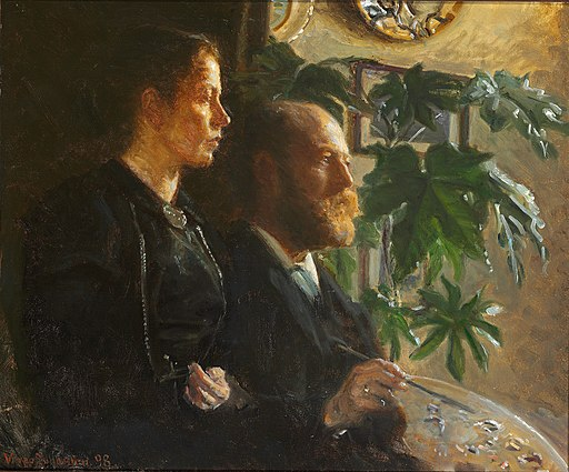 Johansen viggo-self portrait with palette in hand and wife martha