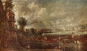 Waterloo Bridge - View of the Old Waterloo Bridge from Whitehall Stairs, John Constable, 18 June 1817