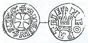 John II Doukas of Thessaly - Sketch of a coin of John II Doukas, patterned after the French denier tournois