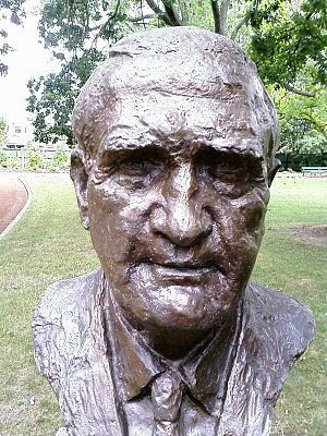 John McEwen - Bust of John McEwen by sculptor Victor Greenhalgh located in the Prime Minister's Avenue in the Ballarat Botanical Gardens