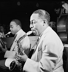 Hodges playing a Conn 6M with Al Sears in background, 1946