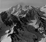 Johns Hopkins Glacier and Mt Fairweather, cirque glacier and icefall, August 22, 1965 (GLACIERS 5490).jpg