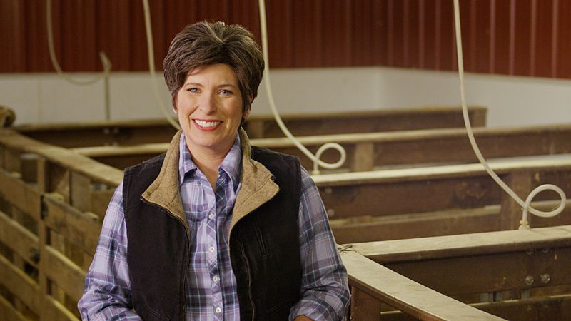 A photo of Joni Ernst, a woman with short brown hair in a plaid shirt and a vest. She stands smiling next to some stalls for livestock.