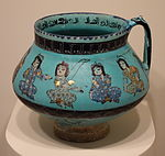 Jug with seated figures and sketches, Mina'i ware, Central Iran, Seljuk period, late 12th or early 13th century, earthenware with polychrome enamels and gold over turquoise glaze - Cincinnati Art Museum - DSC04014.JPG