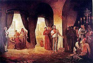 A leitura da senten�a de Tiradentes (�leo sobre tela de Leopoldino Faria).