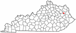 Location of Sandy Hook, Kentucky