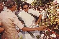 Kaderbad Ravindranath with Kumud Ben Joshi Governer of Andhra Pradesh.jpg