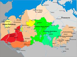 Lordship of Rostock - Image: Karte Mecklenburg 1300