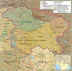 A map of the disputed Kashmir region showing the Pakistani administered region of Balistan, a part of Pakistani-administered Gilgit-Baltistan