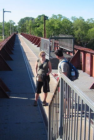 North Australia Railway - Disused NAR bridge crossing the Katherine River, now converted to a footbridge